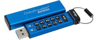Kingston DataTraveler 2000, 4GB, AES Encryption, USB 3.0